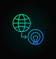 earth with bulb colored icon in thin line vector image vector image