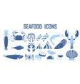 food seafood fastfood drinks icons vector image