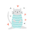 funny cat sitting in a swimming costume vector image vector image