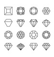 gem line icons vector image vector image