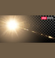 golden shining sun with transparent rays and vector image
