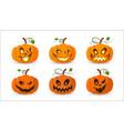 halloween pumpkin icon set autumn symbol 3d vector image