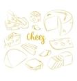 hand drawn set chees vector image vector image