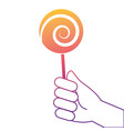 hand holding lollipop sweet candy vector image vector image