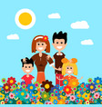 happy family on flower meadow field with flowers vector image vector image