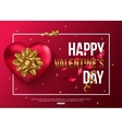 Happy Valentines Day card with red heart gold bow vector image