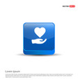 heart in hand icon - 3d blue button vector image