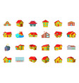 house icon set cartoon style vector image vector image