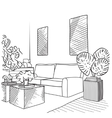 Interior room sketch vector image vector image