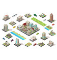 isometric city constructor elements set vector image vector image