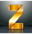 Letter metal gold ribbon - Z vector image
