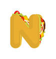 letter n tacos mexican fast food font taco vector image vector image