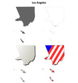 Los Angeles County California outline map set vector image vector image