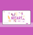 notary professional service landing page template vector image vector image