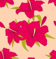 Old Seamless Texture with Lily Flowers and Leaves vector image
