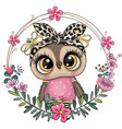 owl with a floral wreath vector image