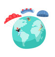 people with parachutes vector image