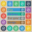 Refresh icon sign Set of twenty colored flat round vector image