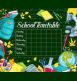 school timetable sketch banner on green chalkboard vector image vector image