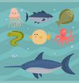 sea animals creatures characters cartoon vector image vector image