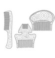 set comb for the hair coloring book for adult vector image vector image