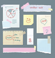 set office paper folded pages with charts vector image vector image