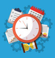 time clock business work calendar icons vector image vector image