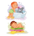 Two clip art with kids vector image