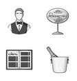 waiter reserve sign menu champagne in an ice vector image vector image