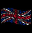waving great britain flag pattern of aiplane items vector image