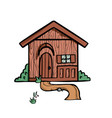 wooden house on white background cute cartoon vector image