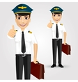 Young friendly pilot with briefcase vector image