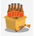 bottles beer cardboard box vector image