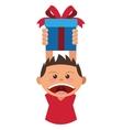 boy holding gift box icon vector image