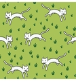 Seamless pattern with cute white cats vector image