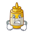angry yellow mustard in plastic bottle cartoon vector image