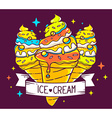 bright three ice creams with ribbon and i vector image vector image