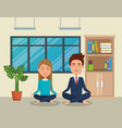business couple practicing yoga vector image vector image