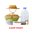 camping or camp point tools icons vector image