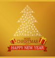 christmas gold design with tree made of vector image vector image