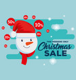 christmas sale label with snowman vector image