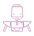 color line robot face with technology arms and vector image