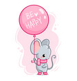 cute mouse with a balloon and inscription be vector image vector image