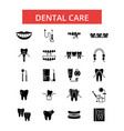 dental care thin line icons linear vector image vector image