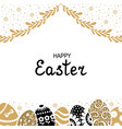 easter card with decorative eggs and palm branches vector image vector image