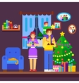 Family Decorating a Christmas Tree vector image