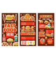 fast food banners with meals snacks and drinks vector image vector image