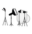 flat studio light equipment set vector image vector image