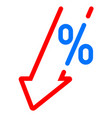 gdp decrease fall red arrow and percent icon gdp vector image vector image