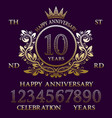 happy anniversary sign kit golden emblem elements vector image